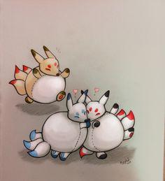 Adorable art by #Kitsune designer Jolie P.! #squishable #fanart