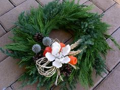Dusickovy vencek Christmas Wreaths, Christmas Crafts, Christmas Decorations, Xmas, Holiday Decor, Grave Decorations, Funeral Flowers, Floral Arrangements, Fall Decor