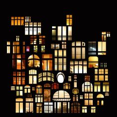 Anne Laure. . Collage of Windows at Night in Cities around the World. Prague.