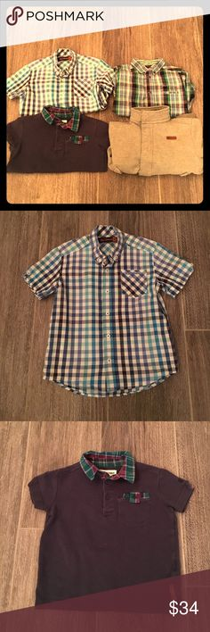 Ben Sherman boys bundle of 4 tops. Size 3-4 years Ben Sherman boys bundle of 4 tops. Size 3-4 years. One plaid blue checker short sleeve button down. One short sleeve navy polo with plaid accounts. One multi color long sleeve button down. One lightweight zip up sweat jacket. Gently worn, no rips or stains. The navy shirt and jacket fit more like a 3. Ben Sherman Shirts & Tops