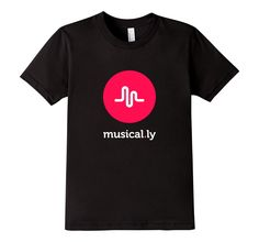 Amazon.com: 'musical.ly' T-Shirt (Black - Fitted Cut): Clothing