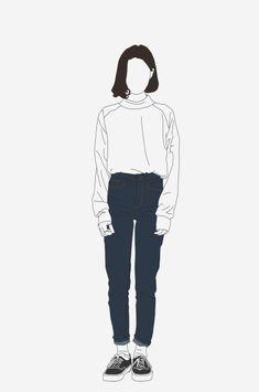 daee-bak Art Drawings Sketches, Cute Drawings, People Illustration, Illustration Art, Illustrations, Vector Character, Portrait Vector, Minimalist Drawing, Korean Art