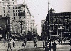 Corner of Fifth and Hill Streets.. southeast corner of Pershing Square.. looking down Fifth Street.. Los Angeles 1922
