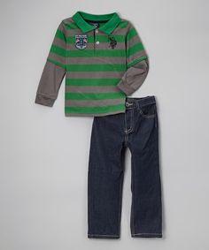 Look at this #zulilyfind! Green Stripe Polo & Jeans - Toddler & Boys #zulilyfinds