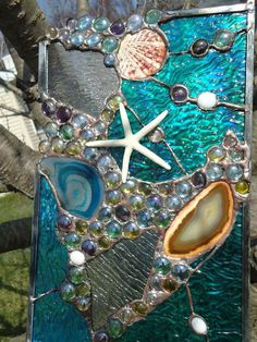 Stained Glass  Window Tropical Starfish Sea Shell  Beach Agate Suncatcher Panel