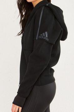 ADIDAS ZNE Zippered Hoodie in Black:  | Fitness Apparel | Shop @ FitnessApparelExpress.com