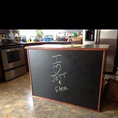 Chalkboard paint on front of kitchen island