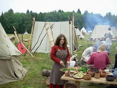 Viking reenactors at the Russian Городецкое Гульбище festival (note the ww loom in the background!)