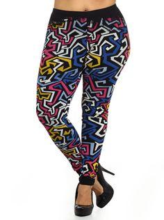 81a7b865ba448 Plus Size Hot Aztec Print Pink Leggings Plus Size Leggings