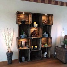 upcycling ideen möbel aus weinkisten dekoideen upcycling ideas furniture made of wine boxes decoration ideas - Diy Home Decor Rustic, Easy Home Decor, Cheap Home Decor, Home Decoration, Pallet Home Decor, Decor Diy, Diy Ideas For Home, Country Decor, Diy House Decor