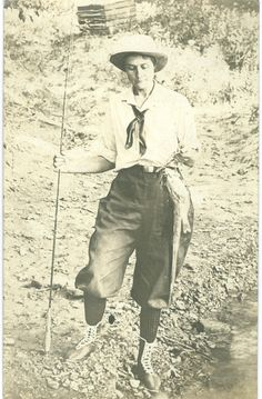 Nell M Richie Fishing Vintage Real Photo by FamilyTreeAntiques, $30.00