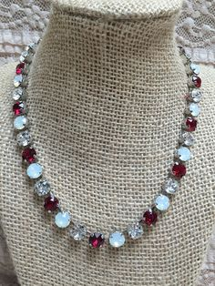 Swarovski Ruby, Opal and Clear. Team colors for Alabama. Roll Tide!