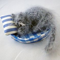 Grey Cat Nap - Fast Asleep - Knitted Textile Gift, Paradis Terrestre - Luxury British Made Accessories & Homeware Unique Cards, Grey Cats, Make You Smile, Cute Animals, British, Textiles, Ornaments, Luxury, Friends
