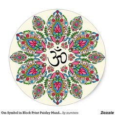 Om Symbol in Block Print Paisley Mandala Classic Round Sticker