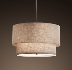 Restoration Hardware two-tier round shade pendant - Master Bedroom Lighting Dining Lighting, Bedroom Lighting, Kitchen Lighting, Home Lighting, Lighting Ideas, Drum Lighting, Lighting Design, Drum Pendant, Pendant Lighting