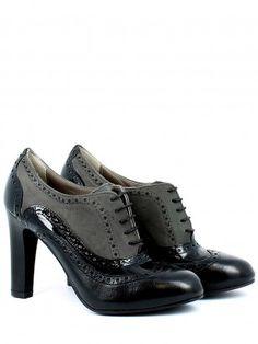 Chic Donna Tacco Alto a Blocco Scarpe All/'Inglese Oxford Con Lacci Pompe Scarpe Brogue Casual SZ