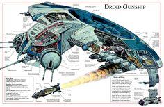 Droid Gunship Cutaway - Droids Star Wars - Ideas of Droids Star Wars - Droid Gunship Cutaway Nave Star Wars, Star Wars Rpg, Star Wars Ships, Star Wars Clone Wars, Star Trek, Starwars, Star Wars Spaceships, Gato Anime, Star Wars Design