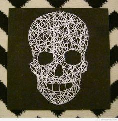 Skull String Art DIy for Halloween