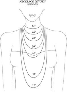 diagrams diagram necklace length guide and necklace chain lengths rh pinterest com necklace chain length diagram Men's Necklace Sizes