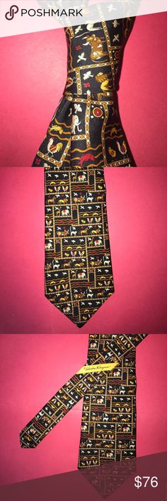 """Vintage Authentic Salvatore Ferragamo silk tie EUC Vintage Authentic Salvatore Ferragamo silk necktie EUC  Brand: Salvatore Ferragamo Color/Pattern: BLACK w/ gold/red/gray animal design. Approx Length/Width: 58"""" x 3 3/4"""" Condition: EUC. Ferragamo silk tie . No visible flaws, in great shape! Beautiful design, hand rolled edges. 15% bundle discount on 3 or more items! 👔. Salvatore Ferragamo Accessories Ties"""