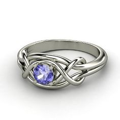 tanzanite and platinum knot ring