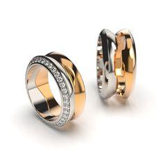 Engagement ring & Wedding ring combo, 18K white and yellow gold, w/vs diamonds