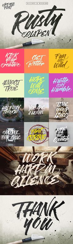 Rusty Cola Pen - Rusty ColaPen type is hand painted style typeface designed to help you create the look of ...