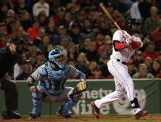 Boston, MA - 05/31/14 - (5th inning) Boston Red Sox center fielder Jackie Bradley Jr. (25) hits a two run home run in the fifth inning. The Boston Red Sox host the Tampa Bay Rays in Game 2 of a three game series at Fenway Park. - (Barry Chin/Globe Staff), Section: Sports, Reporter: Peter Abraham, Topic: 01Red Sox-Rays, LOID: 7.3.3411852218.