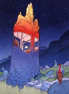 Strange World-Jean Giraud Jean Giraud, Illustrations, Illustration Art, Art Science Fiction, Moebius Art, Moebius Comics, Sci Fi Kunst, Bd Art, 70s Sci Fi Art