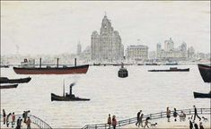 LOWRY Laurence Stephen - The liver buildings, Liverpool Liverpool Waterfront, Liverpool Town, Liverpool Docks, Liverpool History, Liverpool 2016, Spencer, English Artists, Gcse Art, Print Pictures