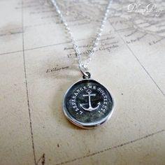 Anchor Wax Seal Necklace - Hope Sustains Me - L'Esperance me soutient
