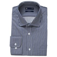 Men's Cotton Rich Shirt - Navy Blue Bengal Stripe