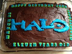 A B+ Halo Birthday Cake: a story in pictures (mostly) easy way to write words on cake!