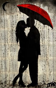 'rainy day love' Photographic Print by Loui Jover - Ink Painting Art Sketches, Art Drawings, Couple Drawings, Drawing Drawing, Umbrella Art, Silhouette Art, Love Art, Saatchi Art, Street Art