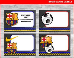 Soccer Barcelona School label - name label - name tag sticker - Back To school label - book label -