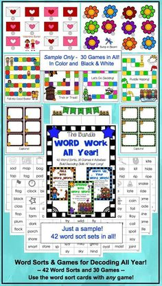 Word sorts and games for the whole year!  Includes word sort cards for short vowels, blends, digraphs, long vowels (CVCe and other patterns), and silent letters.  Four different kinds of games (Bump, Follow the Path, Bingo, and Capture), 30 game boards in all!  You can use any of the word sorts with any of the games! Use as a stand-alone or supplement your adopted reading series.