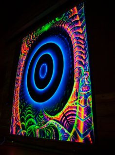 """UV Backdrop """"Portal Constructor"""" Blacklight glow, wall hanging, psychedelic fractal tapestry by Andrew Pronin, space alien fluoro art Black Light Room, Diy Black Light, Trippy Painting, Light Painting, Easy Paintings, Original Paintings, Posters Diy, Goa, Indie Room Decor"""