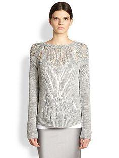 Tess Giberson  Metallic Open-Stitch Sweater ++ SAKS