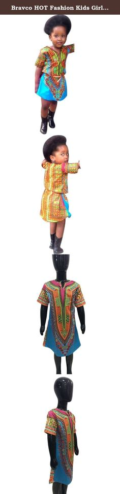 """Bravco HOT Fashion Kids Girls Clothes Sleeveless Africa Print Tops Dress Clothing (3T/110CM). NOTE: Please compare the detail sizes with yours before you buy!!! Use similar clothing to compare with the size. Specifications: Gender:Girl Clothing Length:Regular Sleeve Style:Regular Style:Dashiki Material:Polyester fiber Collar:V-Collar Sleeve Length:Short Sleeve Package include:1PC Dress Size Details: Size:3T Label Size:110 Bust:64CM/22.8"""" Waist:66CM/11.8"""" Length:64CM/19.7"""" Height:110CM..."""