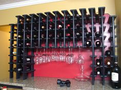 A custom wine rack and entertainment cabinet is this home's party central.