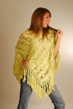 lemon yellow poncho, hairpin lace crochet