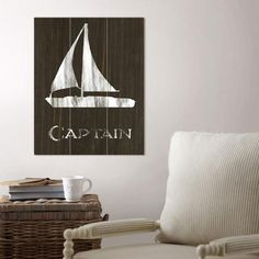 Sailboat Wood Wall Art | It's anchors away with this playful screen print designed on reclaimed wood. The perfect statement piece for anyone nautical-minded.