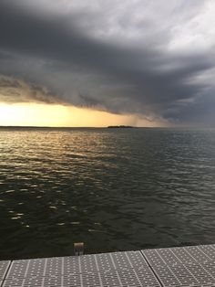 A storm rolling in over the lake.