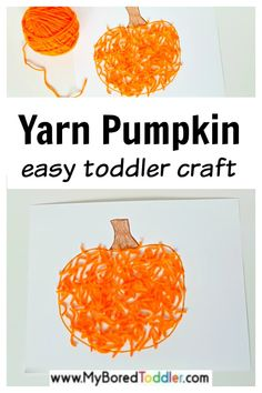 fall crafts for toddlers This easy yarn pumpkin craft for toddlers is a fun way to explore the fall season, and to get ready for Halloween too. The bright orange yarn and colorful crayons used in this activity provide Easy Toddler Crafts, Toddler Art Projects, Easy Fall Crafts, Fall Crafts For Kids, Pre K Pumpkin Crafts, Kids Crafts, Halloween Crafts For Toddlers, Toddler Halloween, Halloween Fun