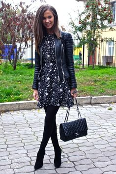 star print dress with a detailed leather jacket and chanel