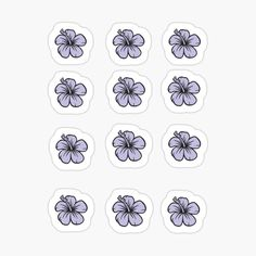 Homemade Stickers, Diy Stickers, Scrapbook Stickers, Printable Stickers, Planner Stickers, Blue Hawaiian, Hawaiian Flowers, Bubble Stickers, Aesthetic Stickers