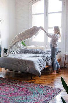 Bettbezug aus Jersey in Grau meliert