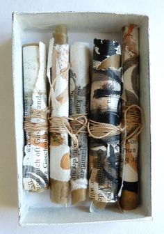 ⌼ Artistic Assemblages ⌼ Mixed Media & Collage Art - 'Fairy Tales rolled up' -by Ines Seidel