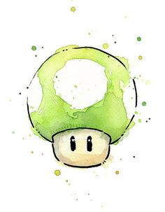 Green 1UP Mushroom Watercolor Art Print, Geek Videogame Nintendo Mario Painting Decor
