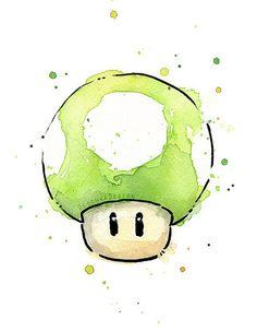 Green 1UP Mushroom Watercolor Art Print Geek by OlechkaDesign